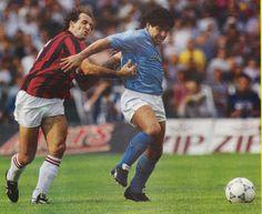 Franco Baresi with Diego Armando Maradona
