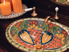 Amazing Mexican Ceramic Sink For Bathroom: Bold Colors And Design. So Beautiful!