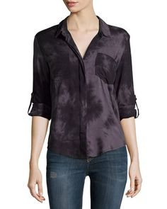 Velvet Heart Riley Tab-Sleeve Button-Front Blouse, Black New offer @@@ Price :$88 Price Sale $65