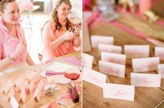 pink calligraphy name cards by @Jamie Wyckoff of www.juliaspoppies.com, Photography:  @Haley Sheffield, www.haleysheffield.com;