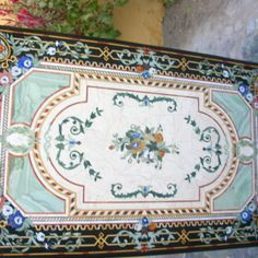 Surrealz black Marble pietra dura table inlaid with semi precious stones - onyx, mother of pearl, jasper, malachite