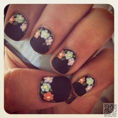 10. #Pastel Floral on #Black Matte - Got #Short Nails? Here Are the Nail Art #Designs You'll Love ... → #Nails #Ideas