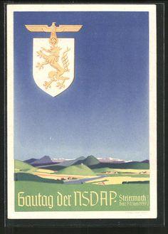 old postcard: AK Graz, Gautag der NSDAP Steiermark 7. - 11. Juni 1939, Wappen mit Reichsadler und Hakenkreuz