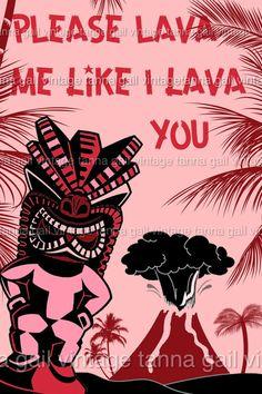 Tiki Retro Valentine Mid Century Digital Valentine by TannaGail