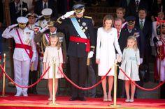 King Felipe VI of Spain, Queen Letizia of Spain, Princess of Asturias, Leonor, and Princess Sofia attends a Military Parade at the Congress ...