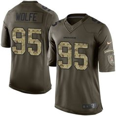Youth Nike Denver Broncos #95 Derek Wolfe Elite Green Salute to Service NFL Jersey