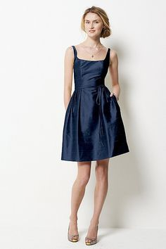love this navy dupioni silk dress... plus it'd totally match my dream Kitty Andrews Ivy hat ;)  Watters.com
