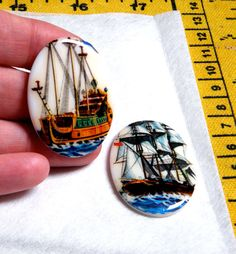 More one of a kind beauties!!  2 Vintage Glass large cabochons by bansheehouseofmake, $5.00