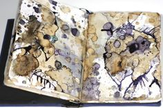 """Disaster by Angela Mercedes Donna Otto - small blue bound sketchbook filled with illustrations based on tea and coffee, detailed elaboration of figures with ink 