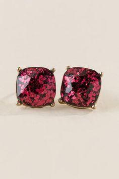 Adelina Glitter Square Stud Earring In Burgundy-Burgundy alternate