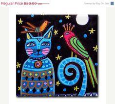 35% Off Today- Cat Gifts - BIRD CAT ART - Ceramic Tile Coasters - Blue Cat Folk Art Print - Ceramic Tile - Birds - Wedding Gifts