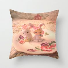 Teacup Bunnies Throw Pillow by Vintage  Cuteness - $20.00 Hunny Bunny, Hare, Kitsch, Tea Cups, Shabby, Easter, Throw Pillows, Bunny Rabbit, Bunnies