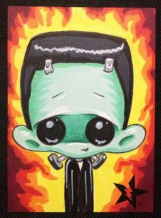 Sugar Fueled Frankenstein Horror Lowbrow Creepy Cute BIG EYE Aceo Mini Print | eBay