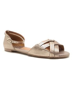 Look at this #zulilyfind! Gold Strappy Palmer Ballet Flat #zulilyfinds