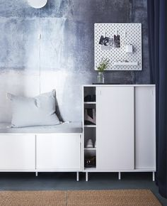 Maximise your small hallway using space-saving hallway furniture with double functions! IKEA offers a wide range for storing your stuff such as MACKAPÄR bench in white with storage compartments for shoes that you also can sit on. Ikea Hallway, Hallway Storage, Hallway Ideas, Hall Furniture, Small Hallway Furniture, Furniture Dolly, Furniture Storage, Furniture Ideas, Storage Boxes With Lids