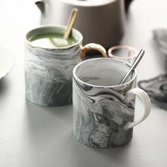 Creative Natural Handpainted Marble Gold Monogram Porcelain Coffee Mug Tea Milk Cups and Wedding Gift Dining Room Light Fixtures, Hanging Light Fixtures, Creative Wedding Gifts, Creative Decor, Marble Mugs, Led Pendant Lights, Gifts In A Mug, Ceramics, Coffee Mugs