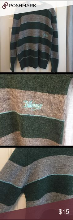 Men's Billabong Wool Sweater This sweater is in great shape. It's green and grey striped with baby blue pin stripe accents. The Billabong logo is in baby blue on front of left middle. It's made of 70% Acrylic and 30% Wool.  Size: M Billabong Sweaters Crewneck