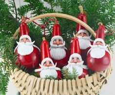Santa Gourd Art is sure to add unique spirit to your holidays. Each face is hand sculpted and hand painted. Dried gourds are everlast Santa Ornaments, Ornaments Design, How To Make Ornaments, Ornament Tree, Decorative Gourds, Hand Painted Gourds, Primitive Christmas, Christmas Pumpkins, Primitive Crafts