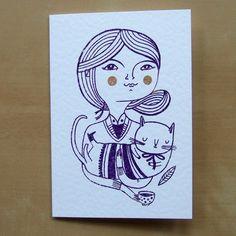 Greta and Paul --- Gocco Greeting Card