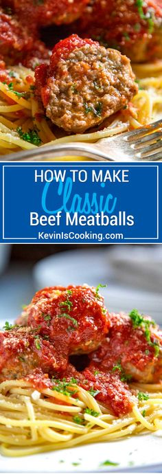 Classic Beef Meatballs. Round, tender, juicy, not dried out and packed with flavor. Mine use ground beef, are light in breadcrumbs, get added fat from ricotta cheese and are seasoned beautifully with red pepper flakes and ground fennel. via @keviniscooking