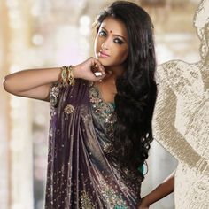 Deep Purple and Turquoise Shimmer Faux Georgette Lehenga Style Saree