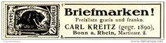 Original-Werbung/ Anzeige 1924 - BRIEFMARKEN - CARL KREITZ BONN - ca. 70 x 15 mm