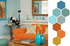 Uso de la pareja de colores complementarios azul y naranja en un interior.