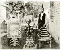 Ella and Herman Metz   With a portion of his horn furniture, displayed at the 1904 World's Fair in St. Louis, which includes this remarkable veneered horn table.