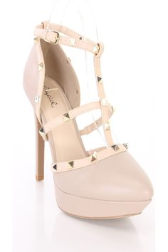 Platform heels - faux leather upper, strappy design, spike studs, almond shaped toe, side buckle, smooth lining, and cushioned footbed. Approximately 5 inch heels and 1 inch platforms. Strappy Platform Heels, Nude Heels, High Heel Pumps, Pumps Heels, Stiletto Heels, Spring Shoes, Summer Shoes, Prom Shoes, 5 Inch Heels