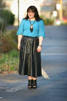 What I Wore: Black leather vintage midi skirt, Ann Taylor silk blouse, Stella & Dot Lilith necklace, Miss SIxty black leather booties, LIfetherapy Bracelets