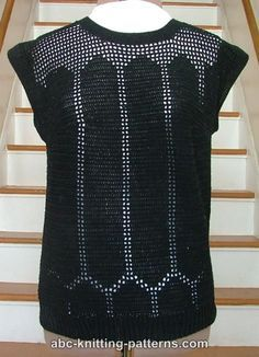 Crochet Black Openwork Summer Top. Think I would want to crochet one in a hot, neon tropical color, like coral or bright yellow. Would look great with a tan!