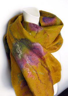 Felted Scarf Wool Silk Shawl Gold Mustard Floral by avivaschwarz, $145.00