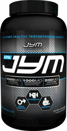 The website is about Alpha Jym which is a testosterone booster supplement. It describes how to gain muscles and how the testosterone boosters can help with the process.