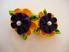 kanzashi flower, a set kanzashi hair clip, flower by CarmelasDesigns on Etsy