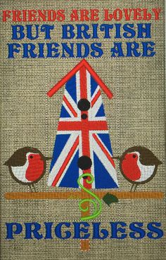 Union Jack birdhouse with robins embroidery wall art.