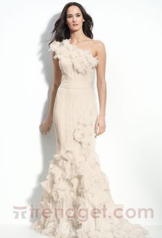 Alluring Trumpet / Mermaid One Shoulder Floor-length Chiffon White Wedding Dresses - $168.99 - Trendget.com
