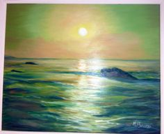 Puesta de sol en Bayona, Francia. Pintura al óleo.