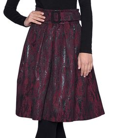 Look what I found on #zulily! Bordeaux Textured Abstract A-Line Skirt - Women & Plus by Elfe #zulilyfinds