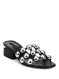 00d27a6dd78 Alexander Wang - Lou Tilt-Heel Studded Leather Slides Black Slip On Shoes