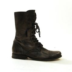 90s Lace Up Ankle Boots in Black Leather / Women's by SpunkVintage, $62.00