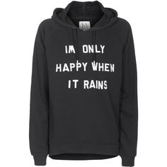 ZOE KARSSEN Happy Hood Black Cotton blend hoodie with slogan ($89) ❤ liked on Polyvore featuring tops, hoodies, sweaters, shirts, jackets, drawstring hoodie, hoodie shirt, pattern shirt, hooded sweatshirt and raglan shirts