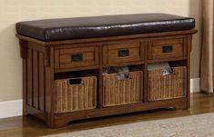 Oak Finish Storage Bench with Baskets by Coaster http://www.ashleydeals.com/oak-storage-bench-coaster-501061.html #furniture #business #online #entryway
