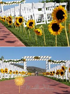 I like the idea of the long sunflowers down the aisle! So cute for awestern wedding