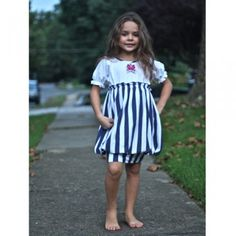KidCuteTure Navy White Nautical Striped Bubble Dress Girls Size 2-8