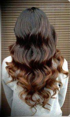 dark brown hair that fades into a lighter brown
