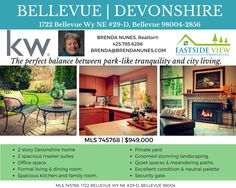 #BELLEVUE 98004 Town Home for Sale. DEVONSHIRE (see my Pinterest board on Bellevue Restaurants) #realestate