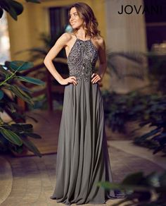 Jovani Charcoal halter chiffon gown 92605