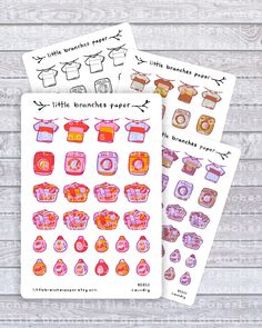 Laundry Planner Stickers, Washing Machine, Clothing Hamper and Detergent Sticker Set - Hand Sticker, Sticker Paper, Laundry Lines, Planner Supplies, Star Stickers, Laundry Hamper, Travelers Notebook, All Design, Planner Stickers