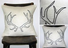 Hand Embroidered Antlers Pillow (no pattern or template). (Note to self: This would also be cool just stenciled onto a pillow) from:http://www.magpiemiller.co.uk/acatalog/Hand_Ebroidered_Antlers.html
