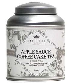 Gearomatiseerde vruchtenmelange      Ingrediënten: stukjes appel, appelschijfjes, in blokjes gesneden appel, crème caramel stukken (gezoete gecondenseerde magere melk, suiker, glucosestroop, boter, bevochtigingsmiddel: sorbitol, emulgator: mono- en diglyceriden van vetzuren), gebrande koffiebonen, aroma, vanille stukken. http://www.o-lijf.com/a-40314974/tafelgut/tafelgut-applesauce-coffee-cake-tea/